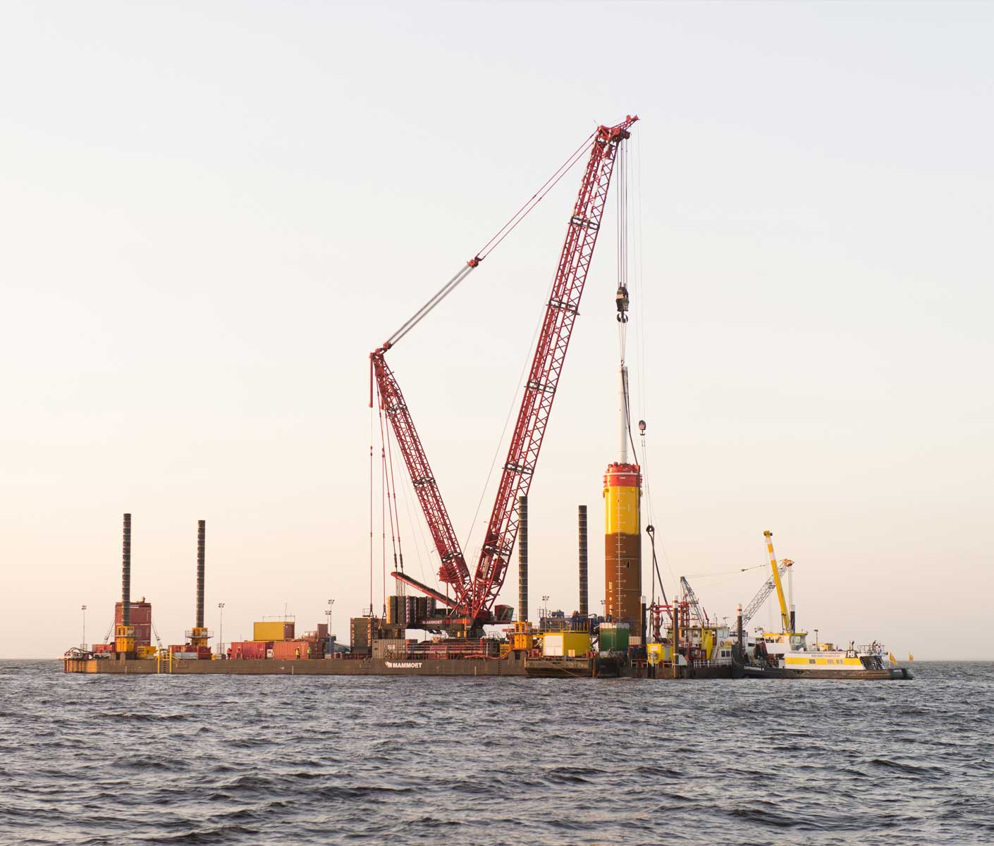 Last foundation pile for Westermeerwind nearshore windpark - The Netherlands