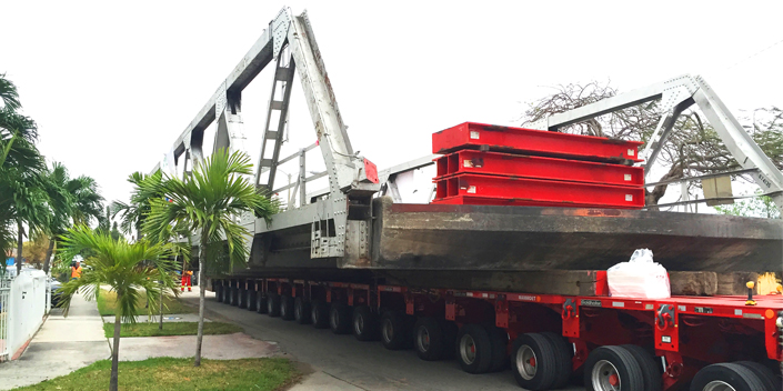 Mammoet jacked and transported a bridge in Miami, Florida, USA